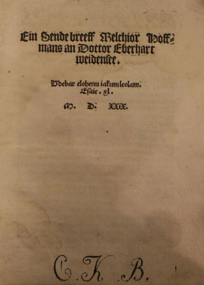 Melchior Hoffmann, title page