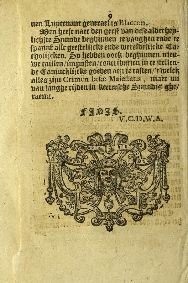 Each issue of the Nieuwe Tijdinghen bears the initials of an ecclesiastical censor, as here, on the final page