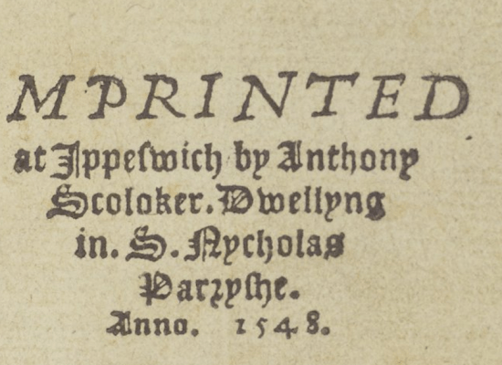 Anthony Scoloker's colophon.