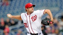 WASHINGTON, DC - APRIL 23: Max Scherzer #31 of the Washington Nationals pitches in the first inning against the St. Louis Cardinals at Nationals Park on April 23, 2015 in Washington, DC. (Photo by Greg Fiume/Getty Images)