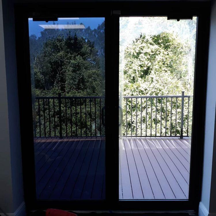 Window film installed on glass