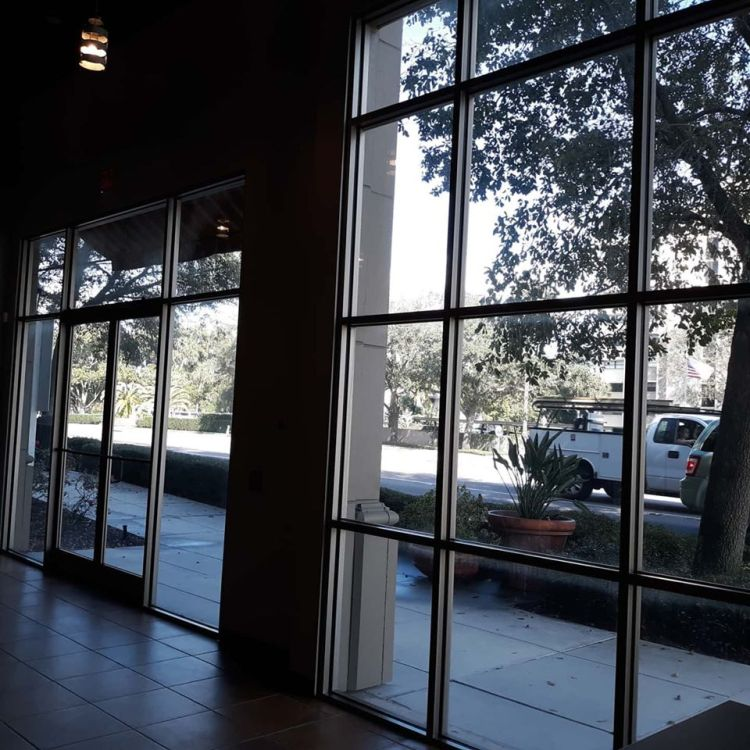 window tint .Commercial windows with Llumar window film