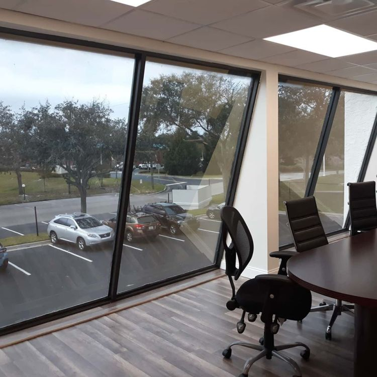 Portfolio pictures of commercial window tinting in casselbery florida