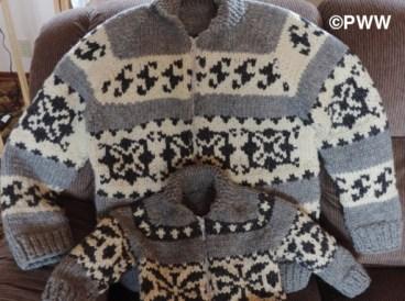 Linda's Cowichan style sweaters