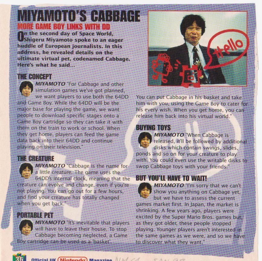 cabbage interview de Miyamoto