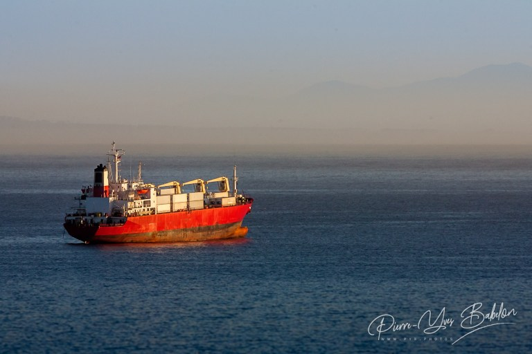 Container ship moored