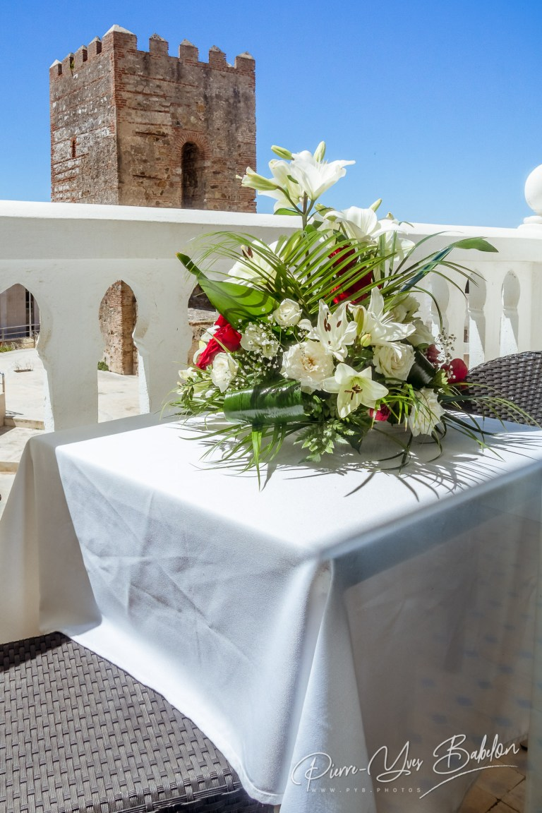 Balcony with bouquet of flowers