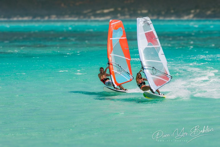Couple windsurfers