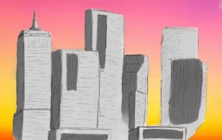 cityscape realistic sunset