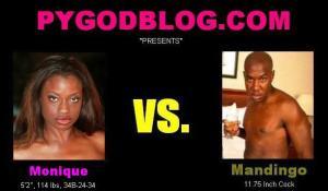 Monique vs Mandingo 11.75 inch cock