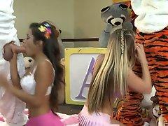 Lupe Fuentes Sienna Milano sucking giant plush at the kindergarden 01