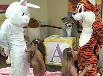 Lupe Fuentes Sienna Milano sucking giant plush at the kindergarden 04