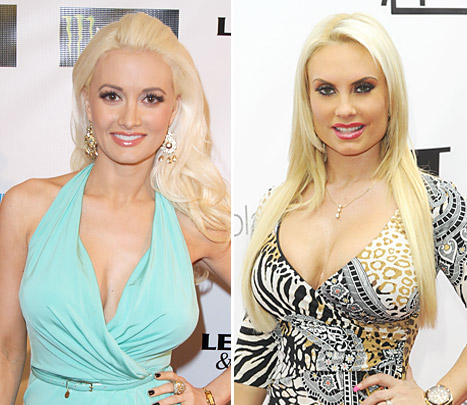 "Hugh Hefner's ex girlfriend Holly Madison (left) is replaced by Ice T's wife Nicole ""Coco"" Austin as the headliner of Las Vegas showgirls ""PeepShow"" due to her pregnancy."