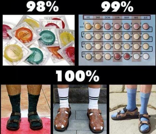 the most effective contraception method = socks and sandals