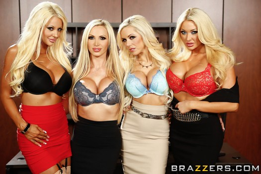 Courtney Taylor, Nikki Benz, Nina Elle, Summer Brielle office 4 blondes orgy 01