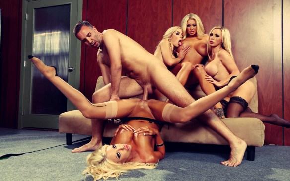 Courtney Taylor, Nikki Benz, Nina Elle, Summer Brielle office 4 blondes orgy 02