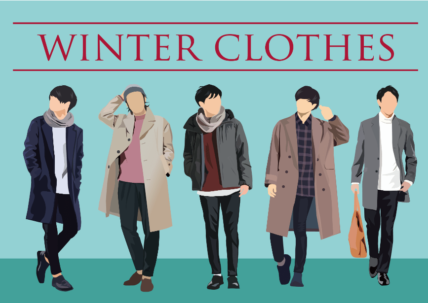 男性秋冬ファッションのイラスト素材