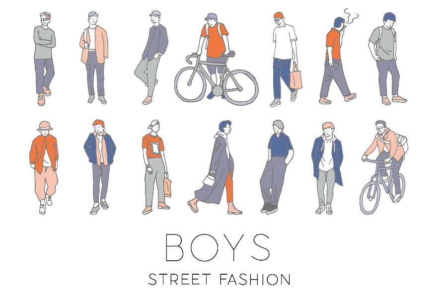 ストリートファッションの男の子イラスト素材