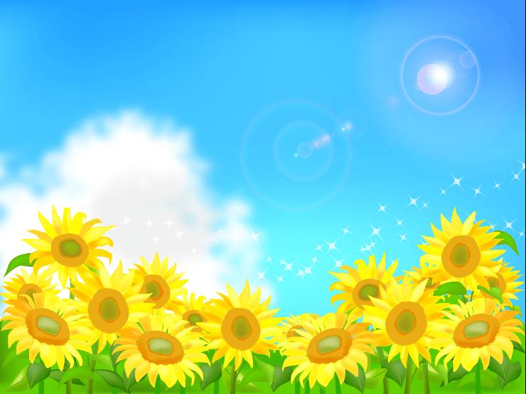 太陽がキラキラ輝く夏の空とひまわり畑のイラストフレーム枠