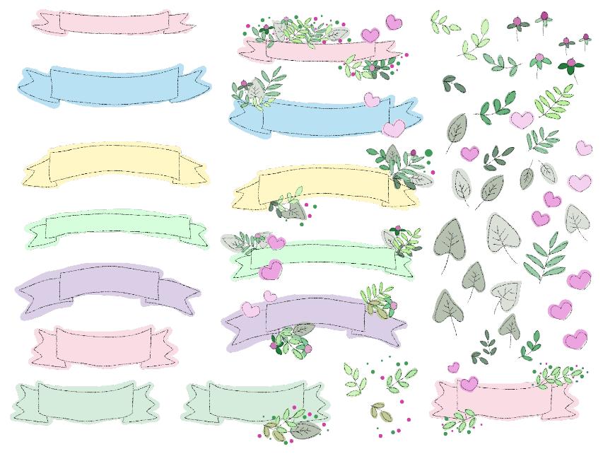 ガーリーなリボンフレームセット(リボン、リボンフレーム、テープ、囲み枠、飾り枠、罫、飾り罫、枠)