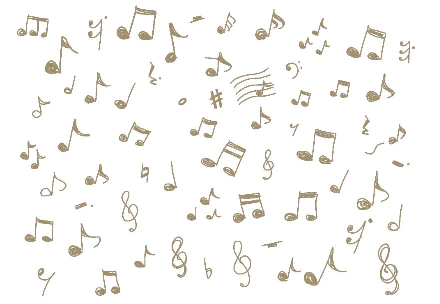 手描き音符のイラストセット(音符、全音符、2分音符、4分音符、8分音符、16分音符、全休符、休符、シャープ、フラット、ナチュラル、スタッカート、ト音記号)