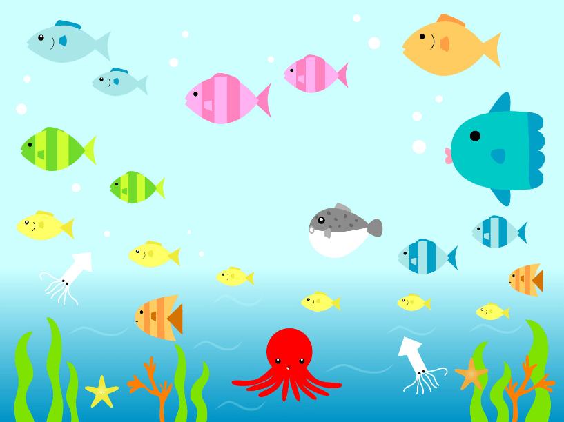 海中の魚たちのイラスト(タコ、マンボウ、イカ、ヒトデ、海草、ワカメ)