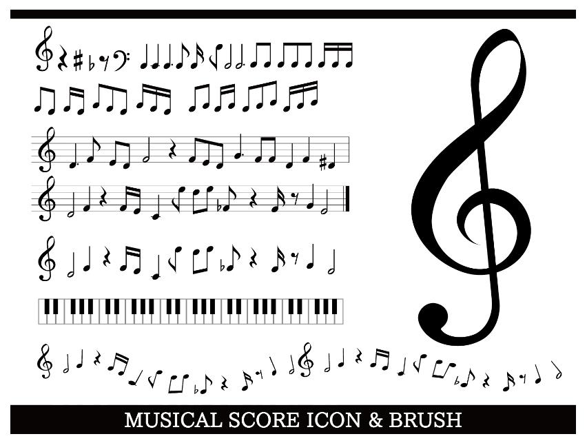 音楽・音符イラストセット素材集(音符、ブラシ、アイコン、五線譜、譜面、ト音記号、8分音符、4分音符、フラット、シャープ、8分休符、2分音符、4分休符、鍵盤)