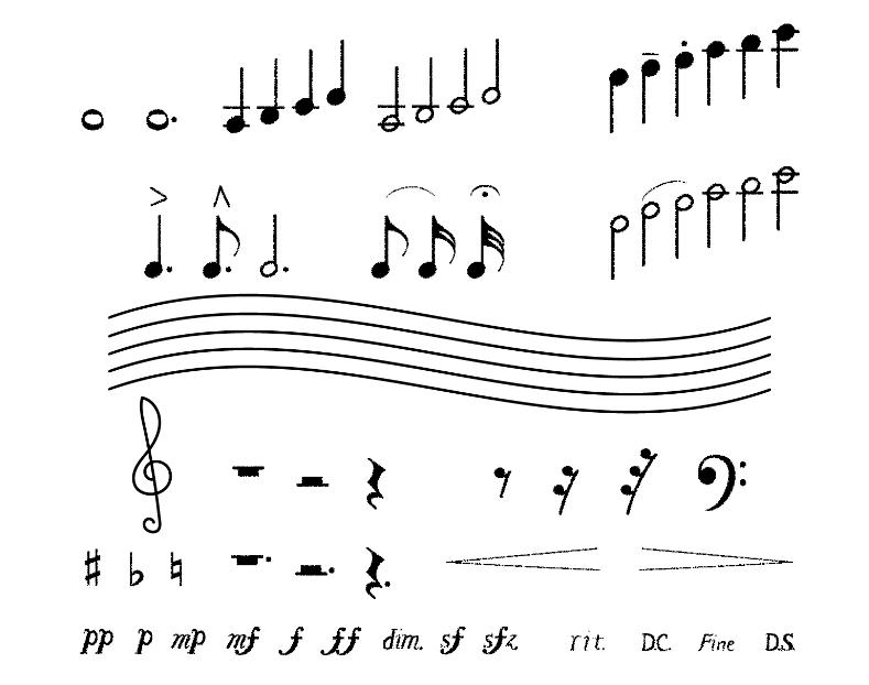 鉛筆タッチ手描き音符セット(五線譜、音符、記号、ト音記号、四分音符、ヘ音記号、シャープ、フラット、ナチュラル、ピアニッシモ、ピアノ、メゾピアノ、メゾフォルテ、フォルテ、フォルティッシモ、アクセント、タイ、スラー、フェルマータ、テヌート、スタッカート、クレッシェンド、デクレッシェンド、ディミヌエンド、スフォルツァンド、ダカーポ、フィーネ、ダルセーニョ)
