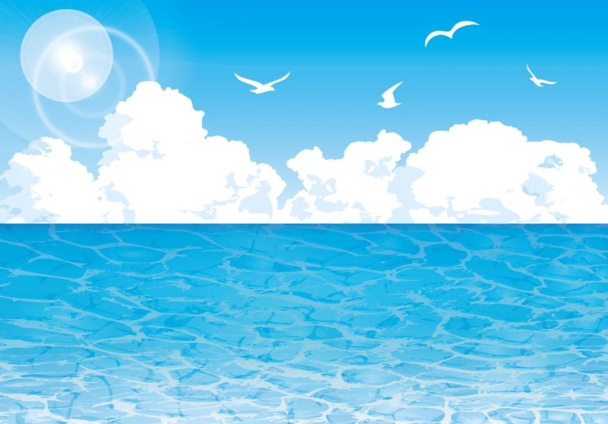 入道雲とカモメ飛び交う空と海の背景イラスト素材(海、水平線、ビーチ、波、入道雲、カモメ)
