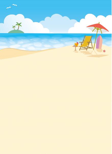 ビーチの背景イラスト素材〈縦〉(南国、浜辺、ビーチ、島、砂浜、ヤシの木、入道雲、パラソル、サーフィン)