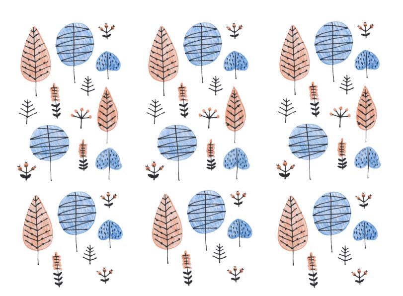 北欧森林パターン(北欧、木、自然、林、森林、壁紙、色鉛筆、手描きテイスト、ナチュラル)