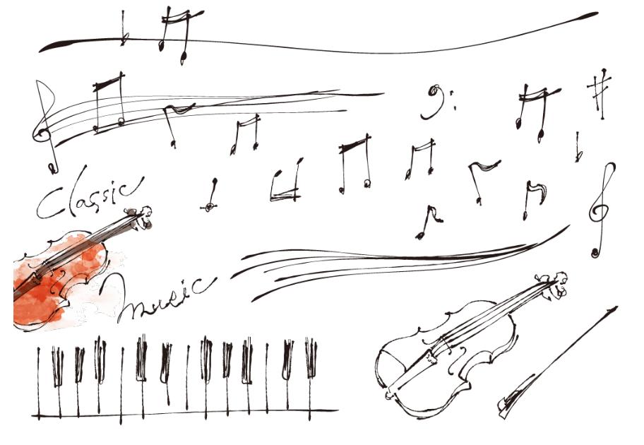 スタイリッシュな手描きの音符や五線譜(音符、楽譜、譜面、五線譜、鍵盤)