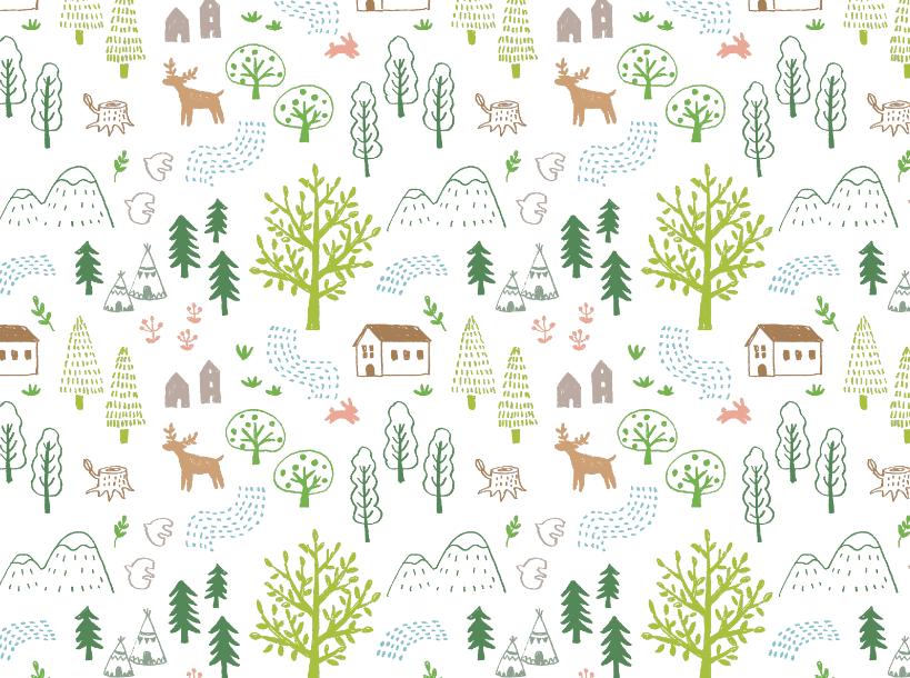 鉛筆で描いた森のパターン(木、パターン、背景、葉、森、林、山、花、鳥、線画、広葉樹、針葉樹、草、自然、公園、トレッキング、ナチュラル、かわいい、家、小屋、もみの木、樹木、アウトドア、キャンプ、川、テント、鹿、うさぎ、切り株)
