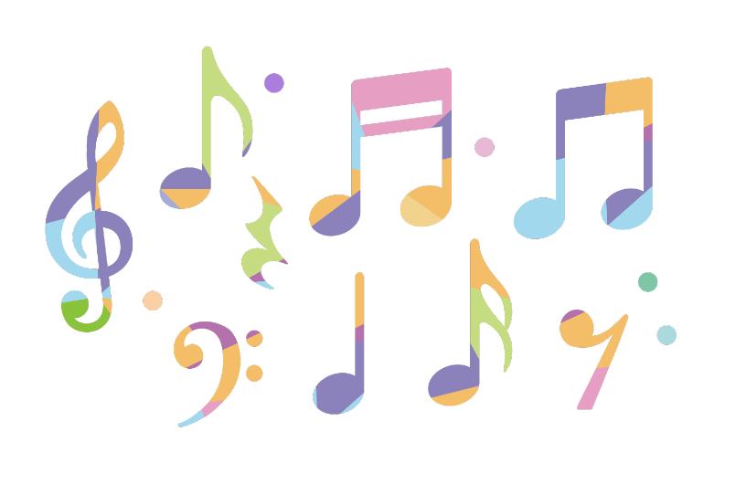 カラフルな音符のアイコンセット(音符、音楽、楽譜、休符、ト音記号、ヘ音記号、イラスト、アイコン、ベクター、パステルカラー、カラフル、四分音符、八分音符)