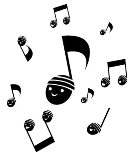 どんぐりおんぷ(八分音符、四分音符、音符、記号、どんぐり、笑顔)