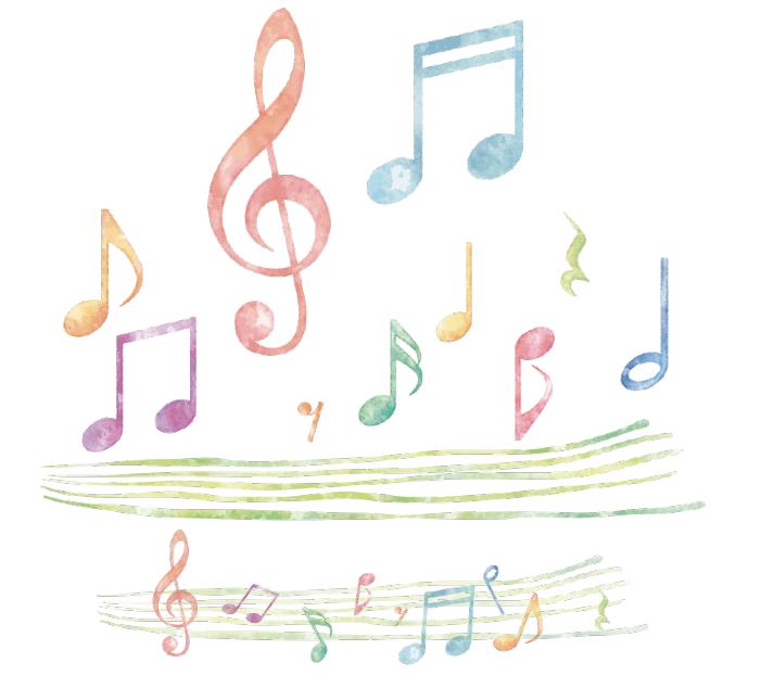 水彩タッチの音符イラスト(音符、四分音符、ト音記号、八分音符、二分音符)