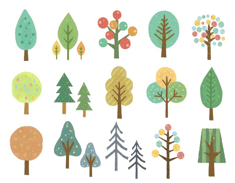 手描き風オシャレな木のセット(手描き風、葉、葉っぱ、可愛い、森、ナチュラル)