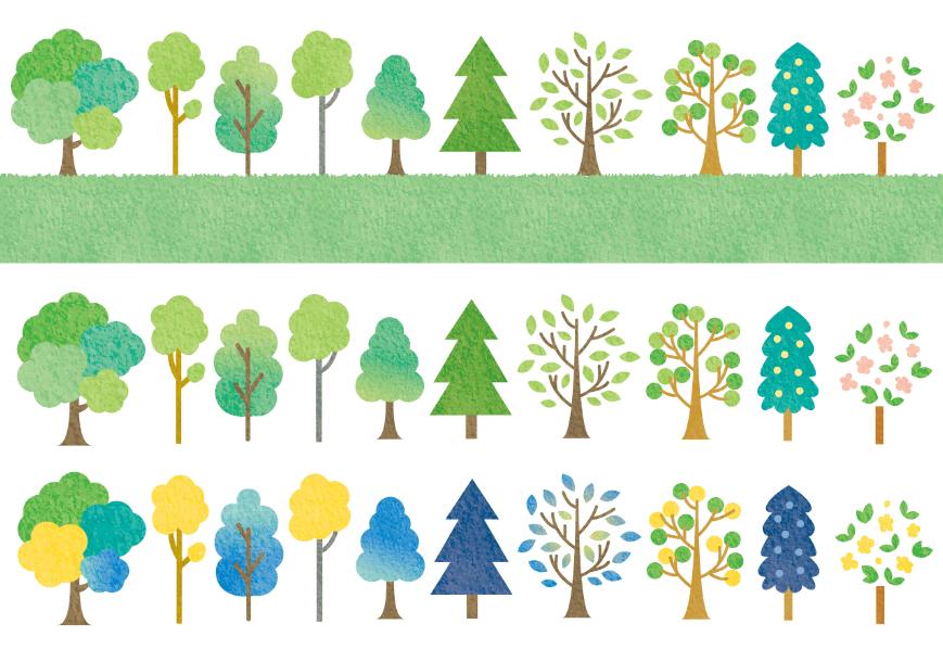 水彩の手描きイラスト素材セット(葉、ツリー、森、ナチュラル、グリーン、新緑、葉っぱ、樹木、森林、林)