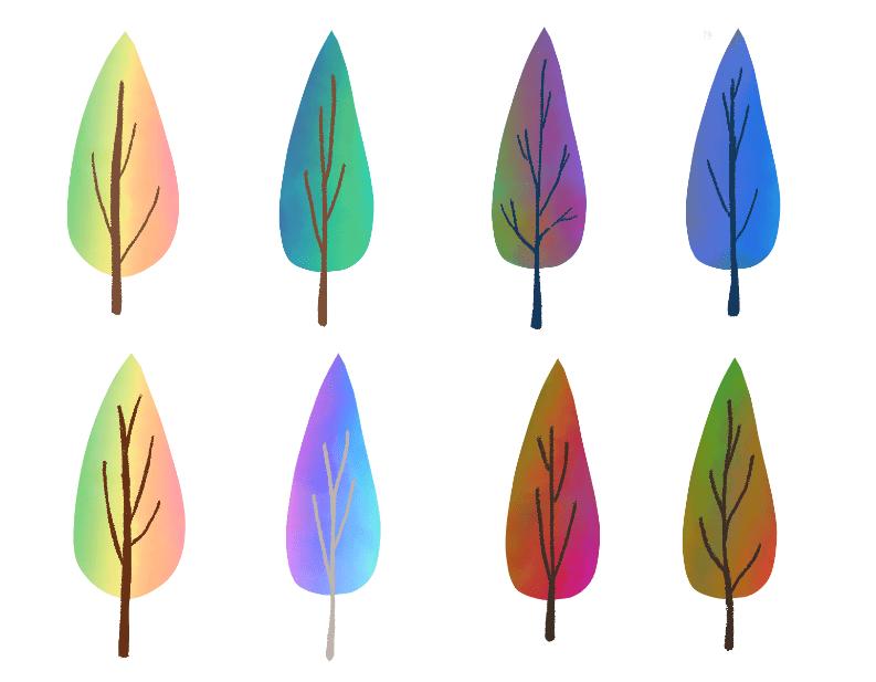 レインボーカラーの木々(木、樹木、林、並木、虹色、レインボー、グラデーション、黄色、オレンジ、紫、青、緑、赤)