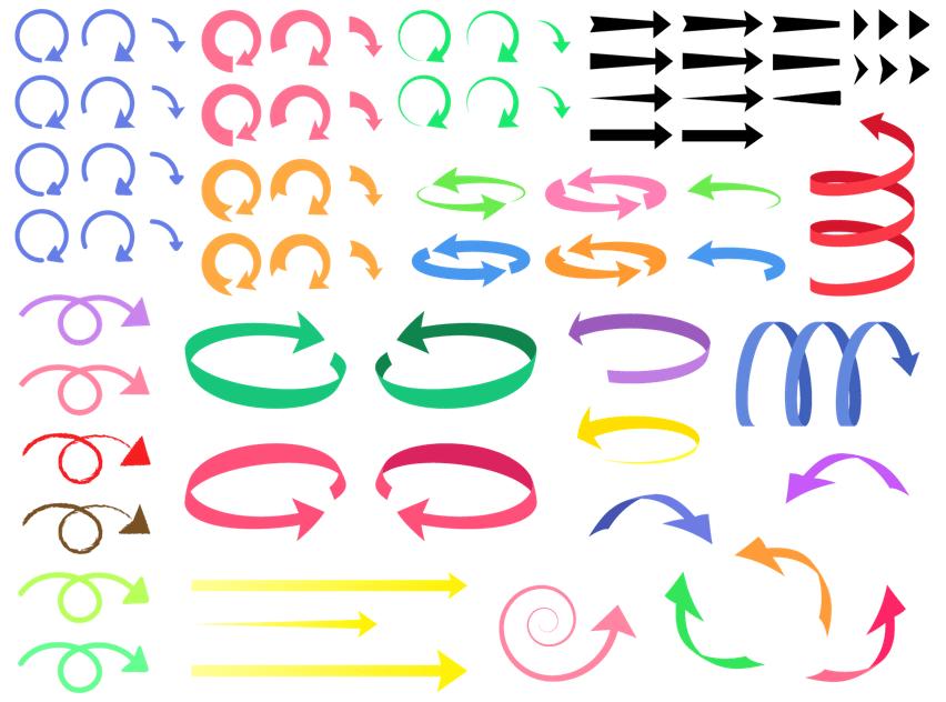 回転矢印(曲線、シンプル、更新、ビジネス、上昇、下降、ねじれ、リボン、回る、回す、丸、曲がる、横、縦、ばね、渦、uターン、三角、かわいい、セット、くるくる)