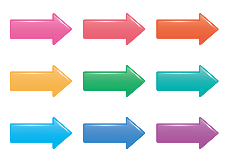 光沢感のある矢印セット(光沢、立体、記号、次、誘導、方向、横、光沢感、セット、ピンク、オレンジ色、橙色、黄色、緑色、青緑色、水色、紺色、青、紫、ツヤ)