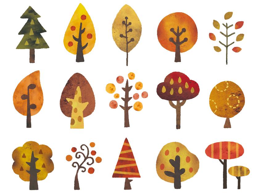 秋の木北欧風水彩イラストセット(木、水彩、北欧、葉、森、紅葉、林、森林、枯れ葉、木の実)