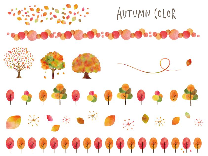 秋色木や葉っぱのラインセット(水彩、紅葉、ライン、秋、葉っぱ、木、パステルカラー、落ち葉、実、黄色、オレンジ、橙、茜色)