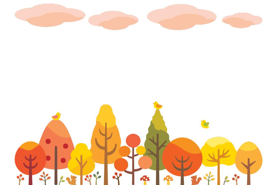 秋の森のイラスト(森、樹々、紅葉、もみじ、葉っぱ、リス、小鳥、空、雲)