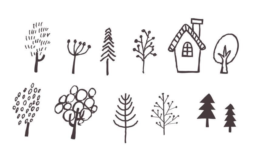 手描きの木のセット(北欧、チョーク、木、家、ツリー、お家、スケッチ、フリーハンド、モノクロ、煙突、葉っぱ、モミの木、広葉樹、針葉樹)