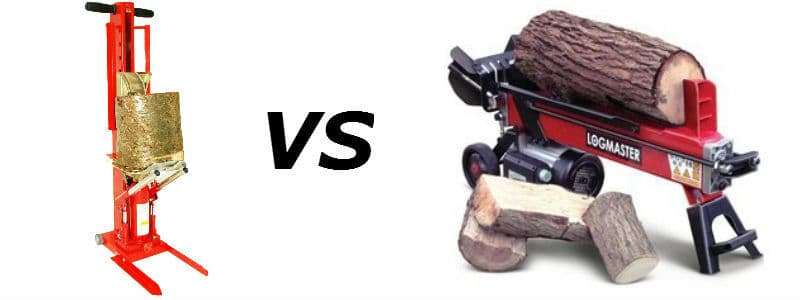 manual log splitter vs powered log splitter.