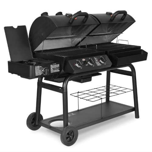 The Char-Griller 5050 Duo Charcoal BBQ is probably the most solid charcoal BBQ on our list. The body and other components are made of steel which is probably the toughest material for building most home appliances, and that sums up why this charcoal grill is the most expensive product in our list. Yet, the vast cooking space is something most of you will appreciate, making it the best BBQ for a garden BBQ party and ultimately our best pick.
