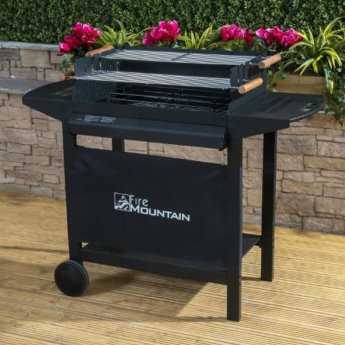 The Fire Mountain Deluxe Charcoal BBQ overall is an excellent BBQ, it's very well made and the price at under £100 makes it one of the most affordable models in our review.  With three levels of cooking and warming food, it's one of the most versatile charcoal grills in our reviews. The only thing it does lack is some king of lid, we can't help wonder if this would become an issue if it started to rain.