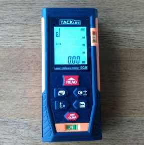 Tacklife HD40 Classic Digital Laser Distance Meter - Its probably one of the best budget models we have reviewed, its accurate to 2mm and will take measurement between 40 and 60 meters depending on which you go for.