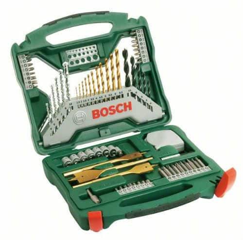 The Bosch Titanium Drill and Screwdriver Set, 70 Pieces is our best drill bit set overall. First, we think the 70 pieces of drill bits are just perfect.